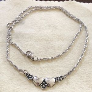 James Avery Retired Flower and Heart Necklace